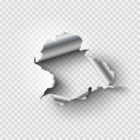 haveloze gat gescheurd in gescheurd metaal op transparante achtergrond Vector Illustratie