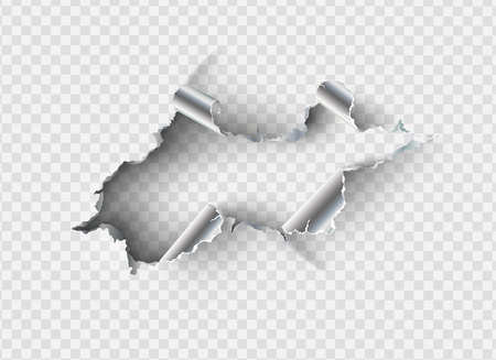 ragged Hole torn in ripped metal on transparent background