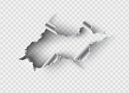 haveloze gat gescheurd in gescheurd metaal op transparante achtergrond