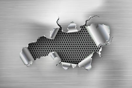 haveloze gat gescheurd in gescheurd staal op metalen achtergrond Vector Illustratie