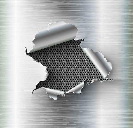 agujero irregular roto en acero rasgado en el fondo del metal