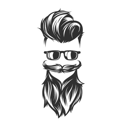 mens hairstyles and hirecut with beard mustache sunglasses Illustration