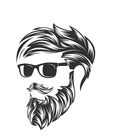 mens hairstyles and hirecut with beard mustache Illusztráció