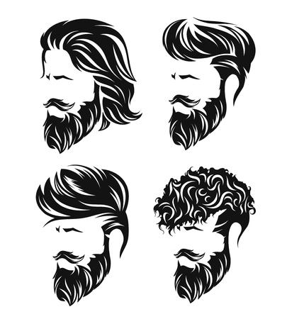 gli uomini impostano acconciature e pettinatura con barba e baffi in faccia