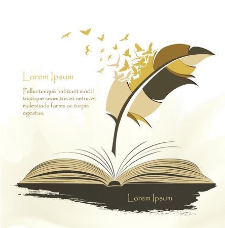 Schreibstift mehrfarbige Feder mit fliegenden Vögeln offenes Buch