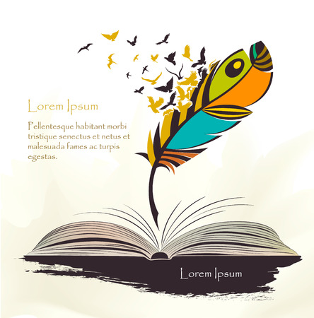 writing pen multicolored feather with flying birds open book Illustration
