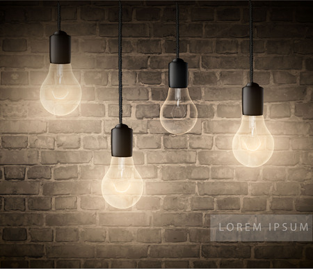 glowing light bulbs set of hanging lights on a brick wall