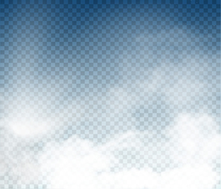 vector clouds and smoke on blue sky on transparent