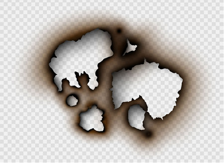 set Hole torn in ripped paper with burnt and flame on transparent background