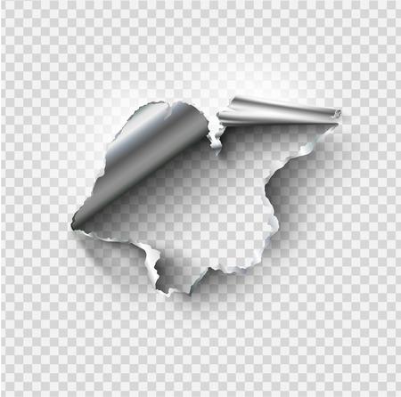 zerlumptes Loch in zerrissenem Stahlmetall auf transparentem Hintergrund gerissen Vektorgrafik