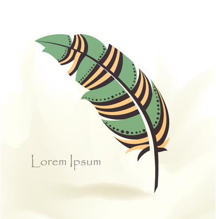 writing pen multicolored bird feather with place for text