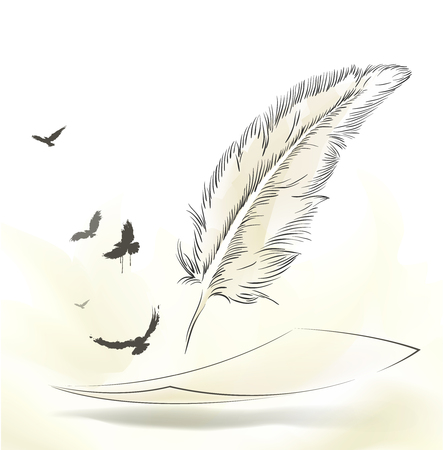 writing old feather with flying birds paper
