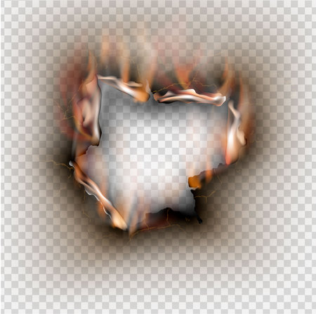 Hole torn in ripped paper with burnt and flame on transparent background Foto de archivo - 123343982