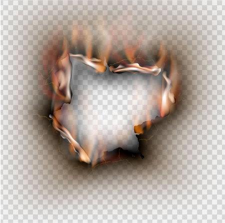 Loch in zerrissenem Papier mit Brand und Flamme auf transparentem Hintergrund gerissen