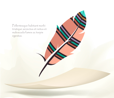 writing old colorful bird feather with flying paper Illustration
