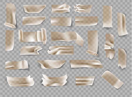 set of transparent brown adhesive tape and adhesive tape Illustration