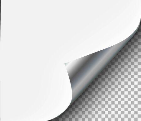 Arricciatura della pagina con ombra su lamiera d'acciaio bianca