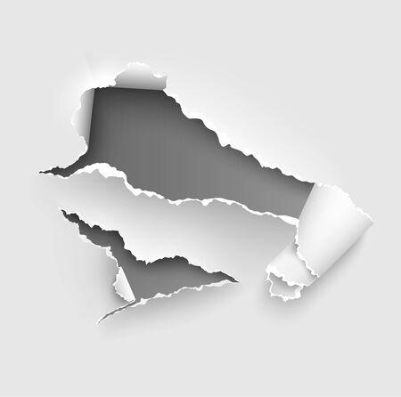 Modèle vectoriel de papier déchiré déchiré, côtés avec bords déchirés sur fond de papier réaliste. Ensemble de bannières latérales déchirées pour le Web et l'impression et espace pour le texte.