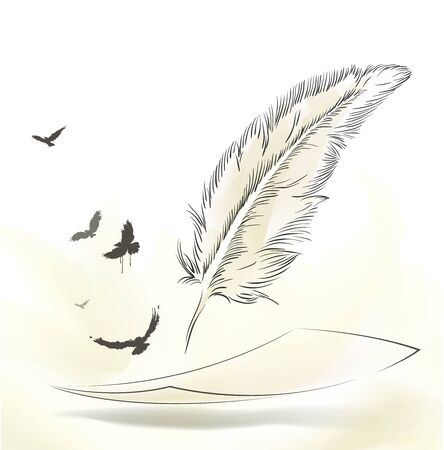 writing old feather with flying birds