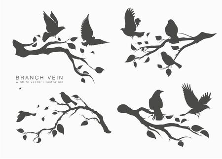 figure set flock of flying birds on tree