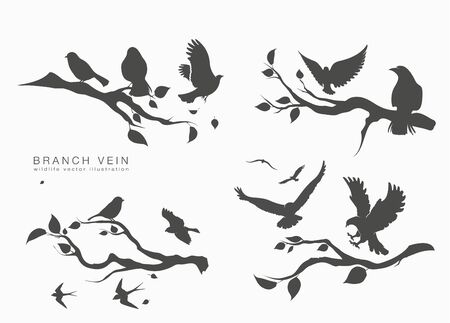 figure set flock flying birds on tree branch Ilustração