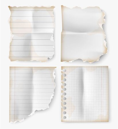 realistic set vintage torn sheet of notebook paper