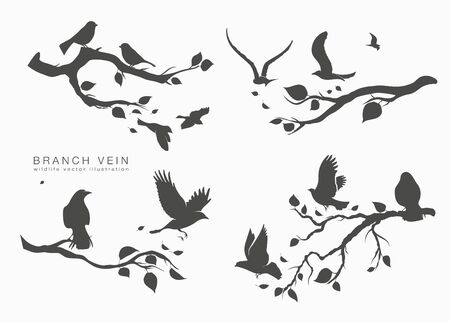 figure set flock of birds on tree branch