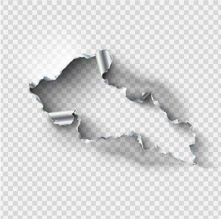 Buco cencioso strappato in metallo d'acciaio strappato su trasparente