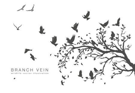 Abbildung Schwarm fliegender Vögel auf Ast Vektorgrafik
