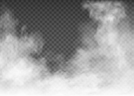 niebla y humo aislado sobre fondo transparente Ilustración de vector