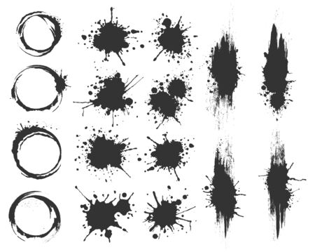 Illustrated spots set bloat collection in black and white
