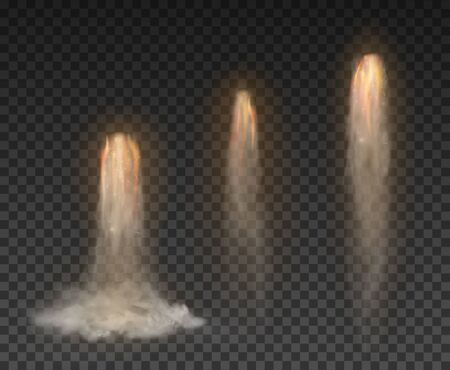 Space rocket bomb Smoke isolated on transparent background Иллюстрация