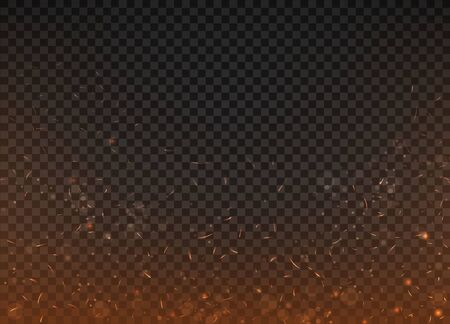fire background on a transparent background with sparks