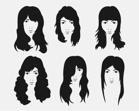 girl hairstyle and haircut with face Ilustração