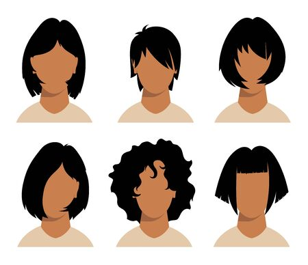 girls and mans hairstyles and haircut with face Stock Illustratie