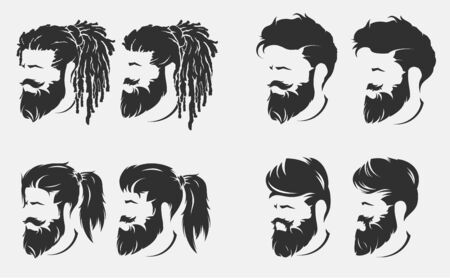 mens hairstyles and haircut with beard Ilustração