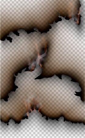 design burning templates torn paper with fire on transparent background Vettoriali