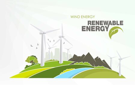 renewable energy infographics with elements of the water of the sun wind and earth
