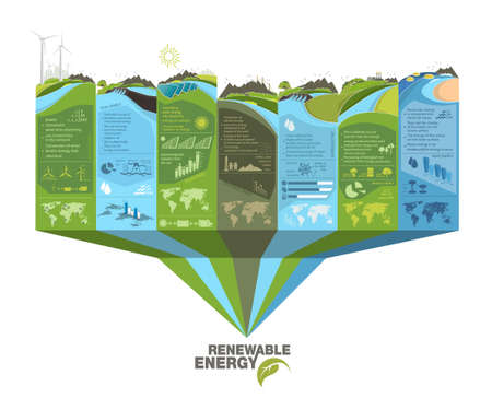 renewable energy infographics with elements of the water of the sun wind and earth Vecteurs