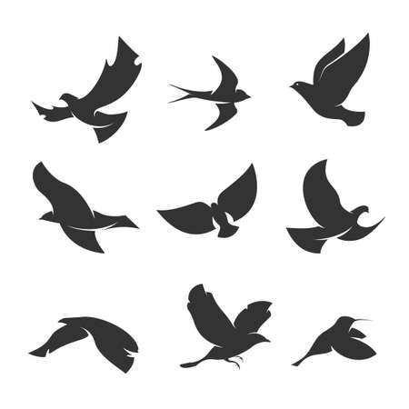 set of silhouettes of birds in motion on a white background