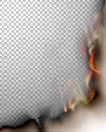 transparent design burning templates torn paper with fire