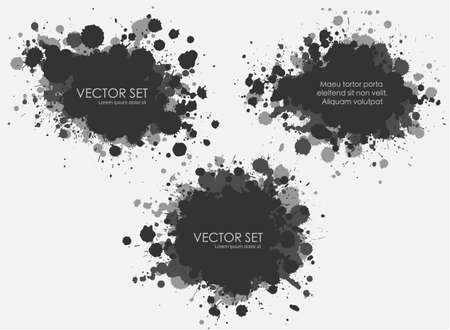 Illustrated ink spots set collection in black and white Illustration