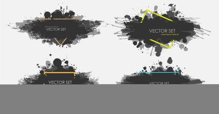 Illustrated ink spots set collection in black and white. Vector illustration Standard-Bild