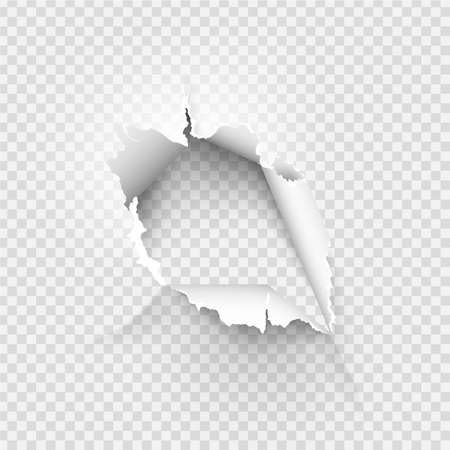 ragged Hole torn in ripped paper on background Ilustración de vector
