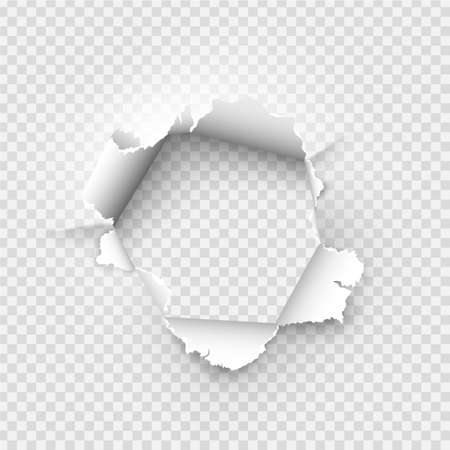 ragged Hole torn in ripped paper on transparent background Ilustración de vector