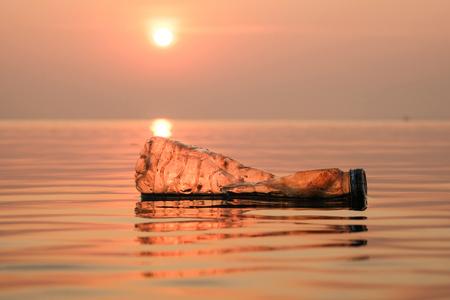 Plastic bottles pollution in ocean ,Environmental pollution. Ecological problem.