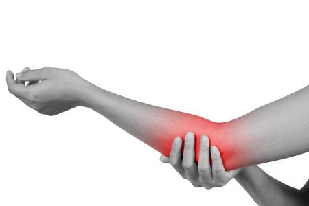 Rot gefärbte Entzündung, die unter Schmerzen in einem Ellenbogen, Gesundheitswesen und Problemkonzept leidet - isoliert auf weißem Hintergrund mit Beschneidungspfad.