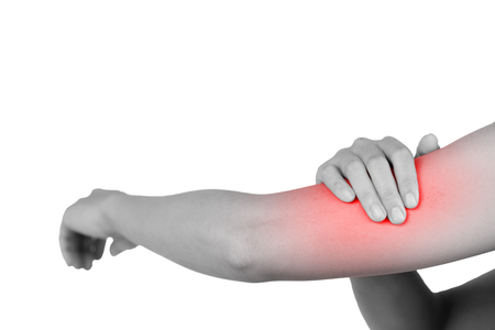 Inflammation colored in red suffering from pain in a elbow, healthcare and problem concept - isolated on white background with clipping path.