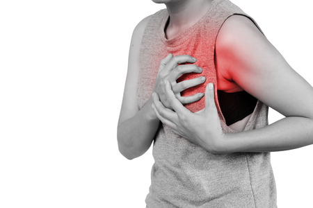 Inflammation colored in red suffering. woman clutching his chest from acute pain, Heart attack symptom. Healthcare and health insurance concept - isolated on white background with clipping path.