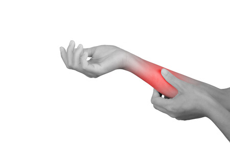 Acute pain in a wrist. healthcare and problem concept - isolated on white background with clipping path. 스톡 콘텐츠